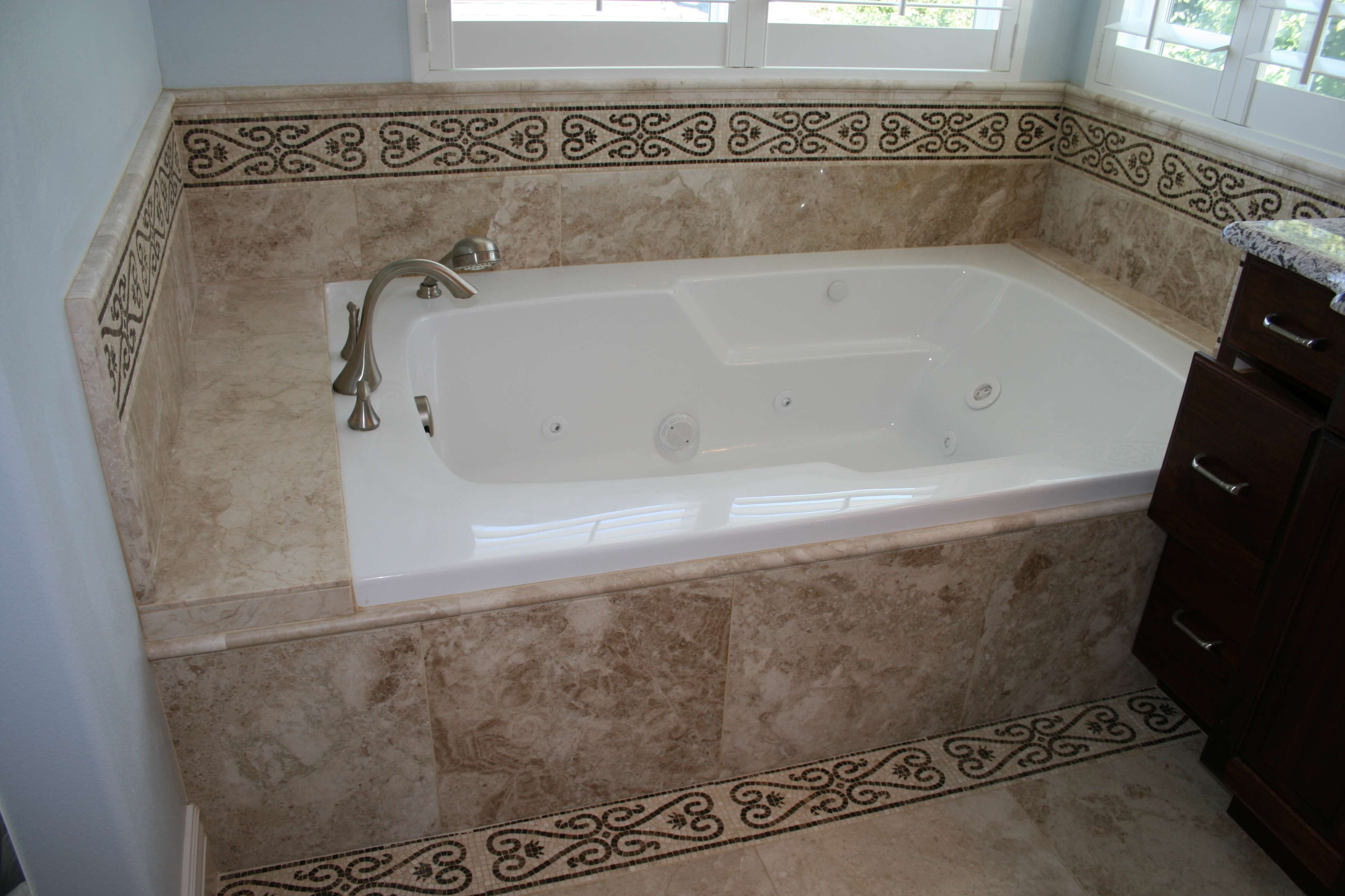 painting+bathtubs | Custom Tile around jetted tub | For the Home ...