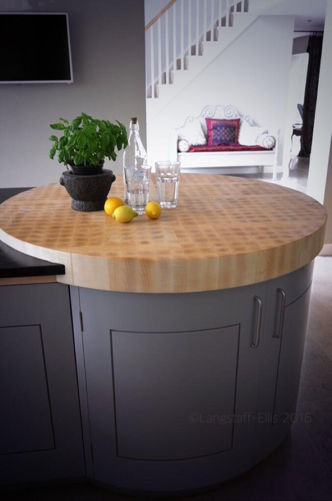 Our Round End Island Cabinet With Circular Butchers Block Chopping Board Tricky Kitchen Pantry Design Kitchen Plans Round Kitchen Island