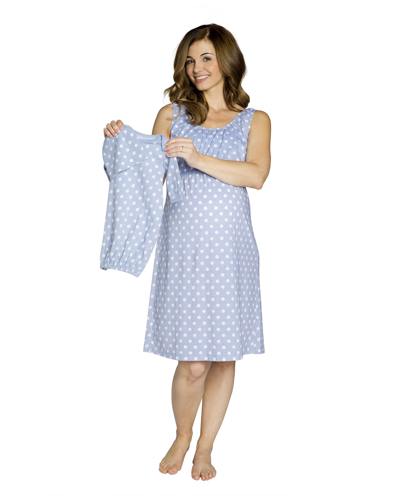 Nicole Maternity/Nursing Nightgown & Matching Baby receiving Gown ...