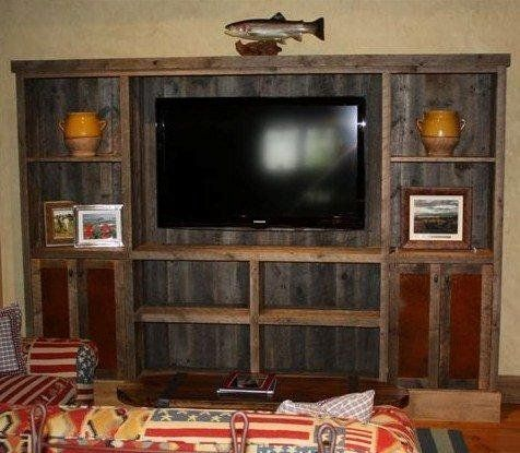 amazing living room built ins reclaimed wood tv | rustic+entertainment+center+ideas | Custom Made Reclaimed ...