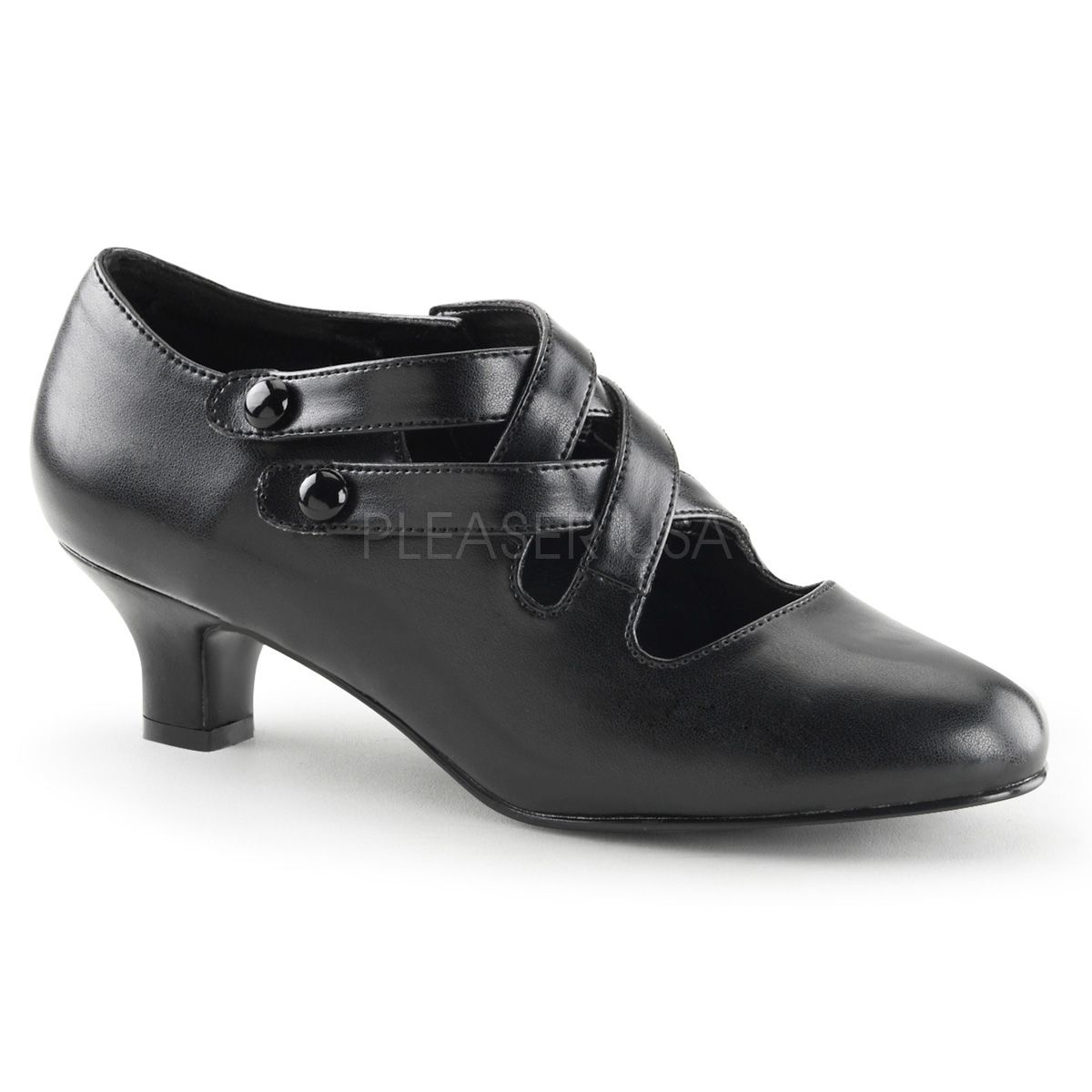 Wearifudare, High Heel Shoes   Pleaser Shoes   Bordello   Domonia   Devious   Fabulicious   Funtasma   Pleaser   http://wearifudare.co.uk/store/all-pleaser-shoes/pleaser-funtasma-dame-02-black-kitten-heel-pumps-8270/