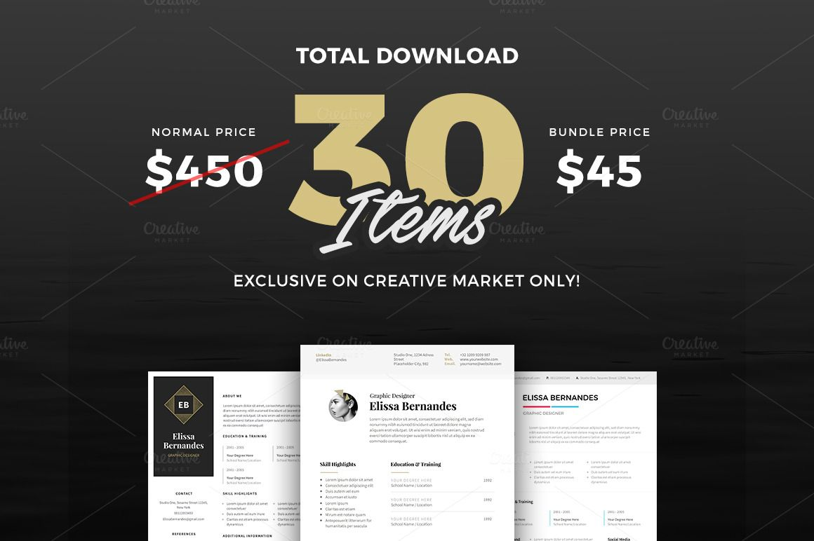 30 best selling resume mega bundle creative resume