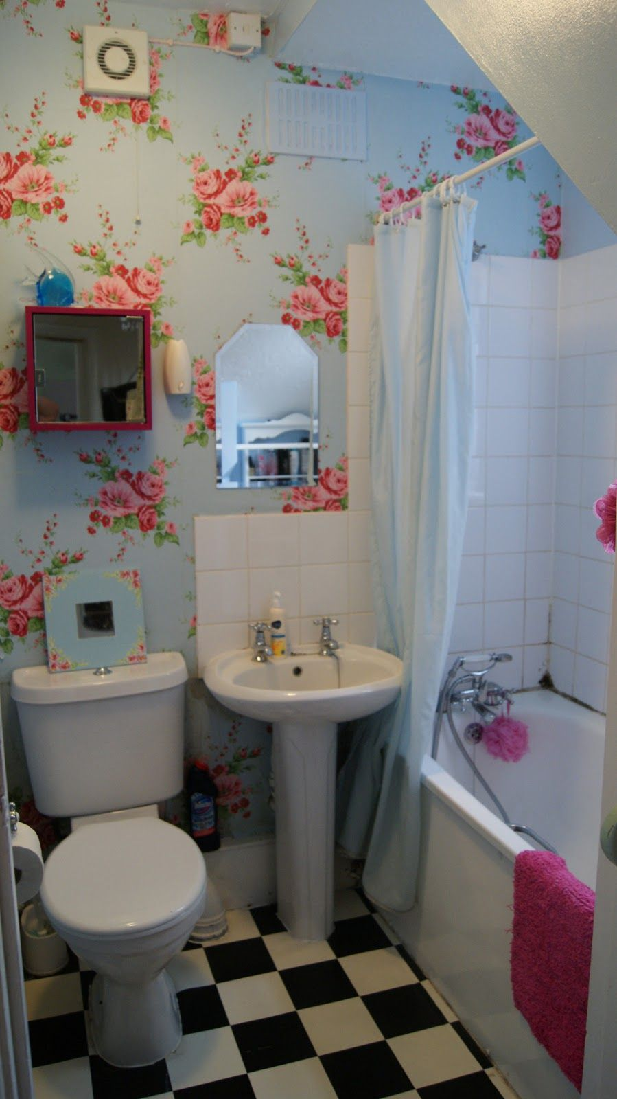 Lavish Very Small Bathroom Design Idea With Blue Wallpaper With Red Floral Motive White Bathtub