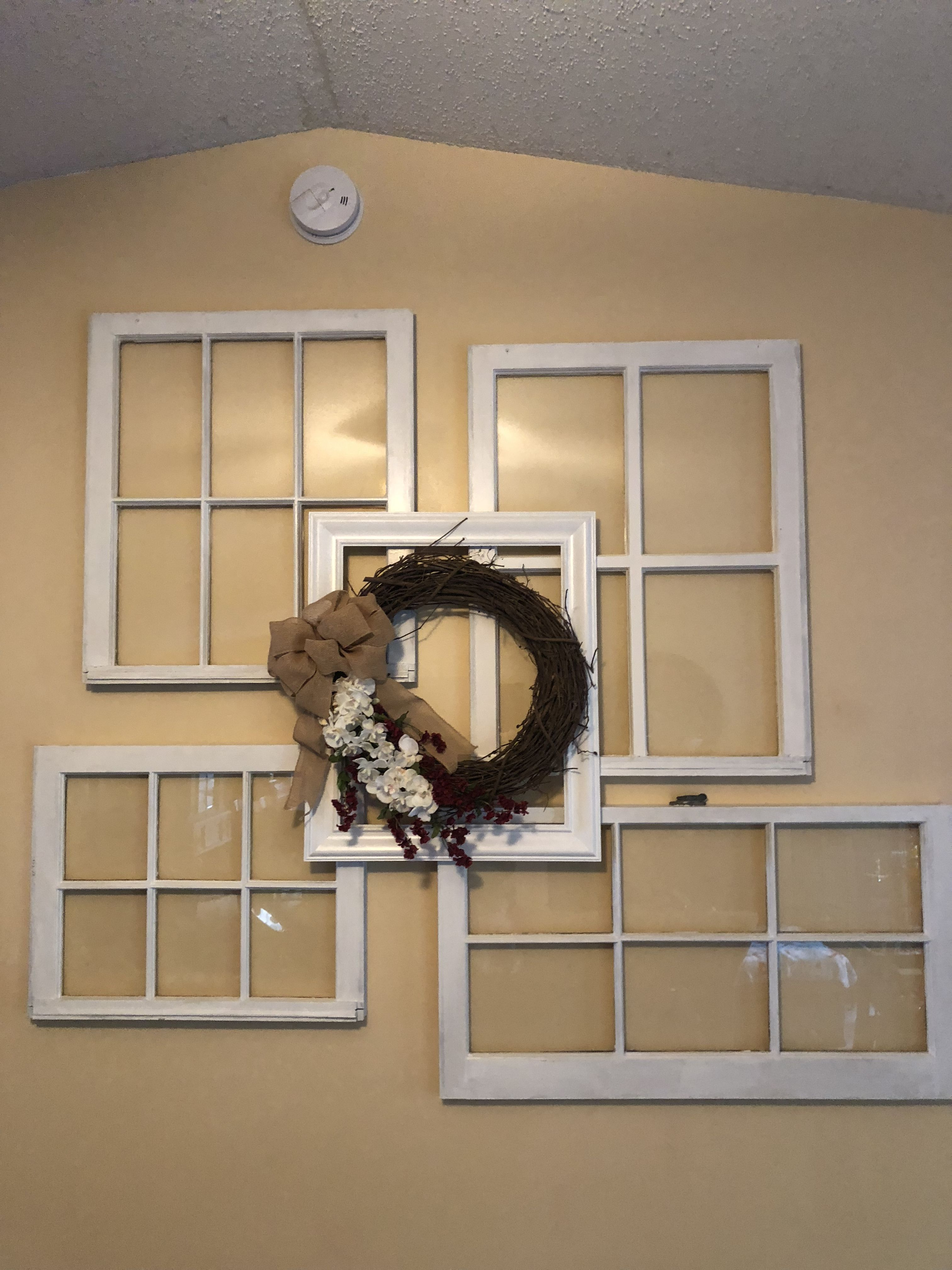 Four Old Vintage Windows Painted Picture Frame And A Wreath Living Room Wall Display Change Wreath For Painted Picture Frames Wall Display Vintage Windows