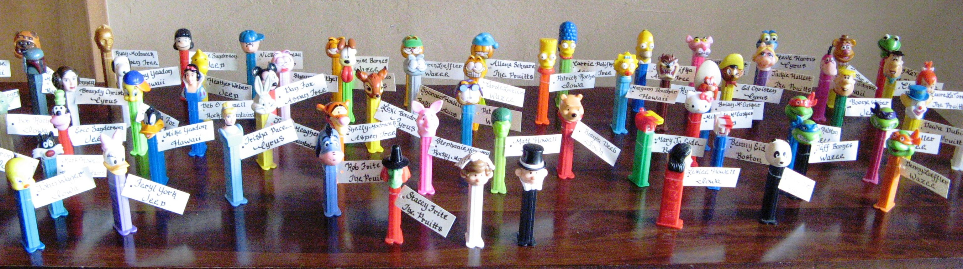 Hand Picked PEZ Dispensers For Each Guest As A Wedding Favor The Bride And Groom Made Selection Their Guests Based On Personality Where They Live