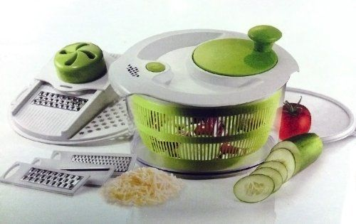 The Sharper Image Salad Spinner Mandoline Slicer 4 In 1 Spin Slice