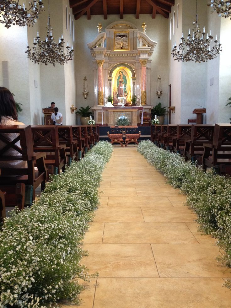 Set Up using asters for the aisle at Our Lady of Guadalupe Chapel at Montecito, … | Wedding Flower