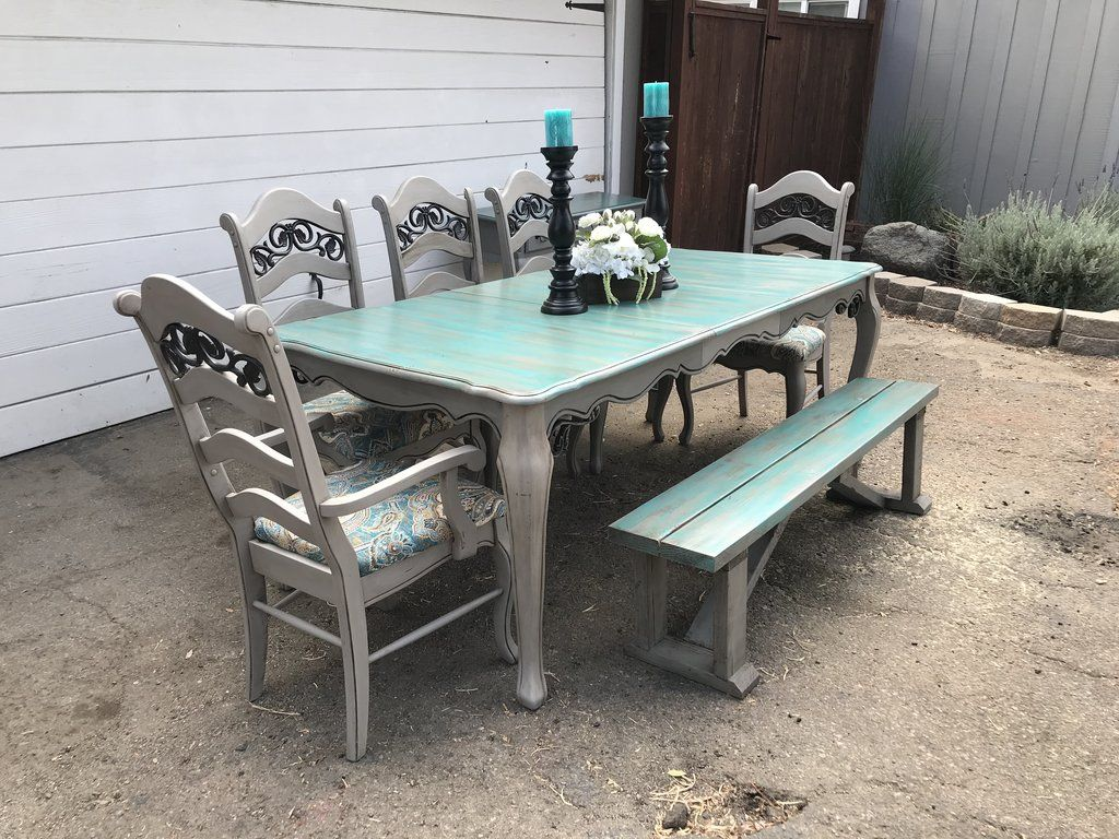 8pc teal and grey dining room set table leaf 5 chairs and
