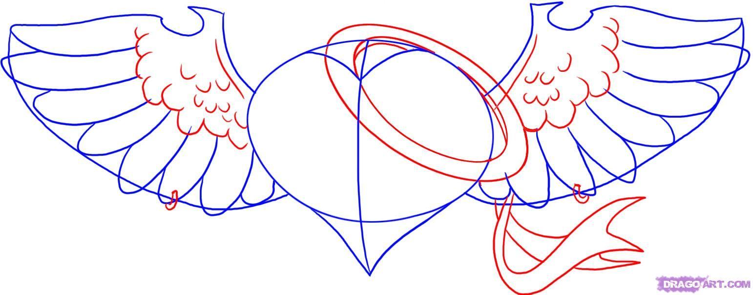 любая картинки как нарисовать сердце с крыльями красивые жилет меха