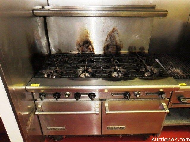Restaurant American Range Double Oven 8 Burner Gas Range Double Oven Real Estate Auction Gas Range