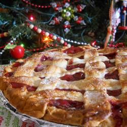 Perfect Cherry Pie Recipe---I love this pie more than any other cherry pie I've ever made.  Used my own pie crust which is unbelievably flaky instead of this one and did a lattice top for the top (as pictured).  Incredible.