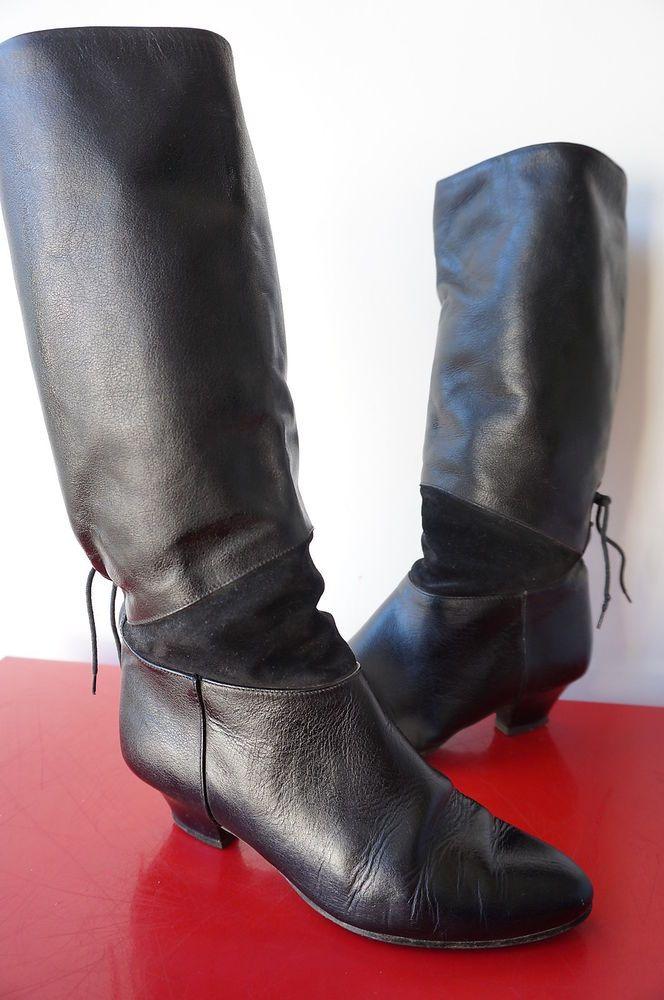 la meilleure attitude de8d1 3e49d Détails sur Bottes plissées Boots Vintage 80 vtg glam rock ...