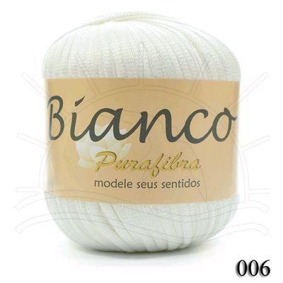 Linha Bianco II 100g - 006 Lançamento Purafibra 2013 Composição: 100% Viscose Contém: 145m Leve, fresco, natural e largo, sendo ideal para trabalhos com pontos vasados e abertos Fabricante: Purafibra