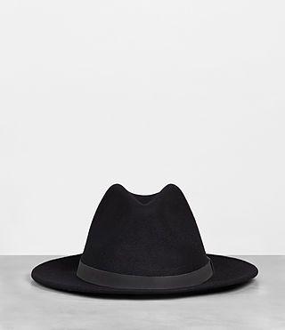 998518bae AllSaints - Mens Bronson Leather Fedora Hat (Black) - $70.00   Men's ...