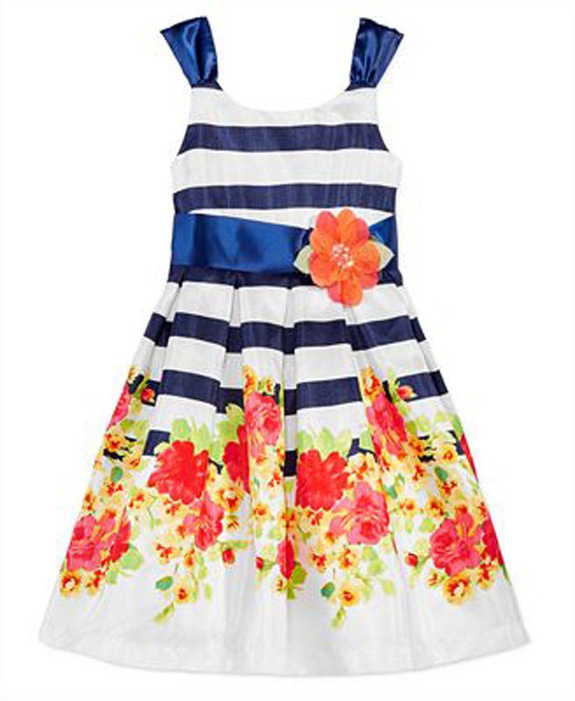 c9046dbaf18 Bonnie Jean Girl's Floral-Stripe Sleeveless Party Dress, Navy 6 #BonnieJean  #Party