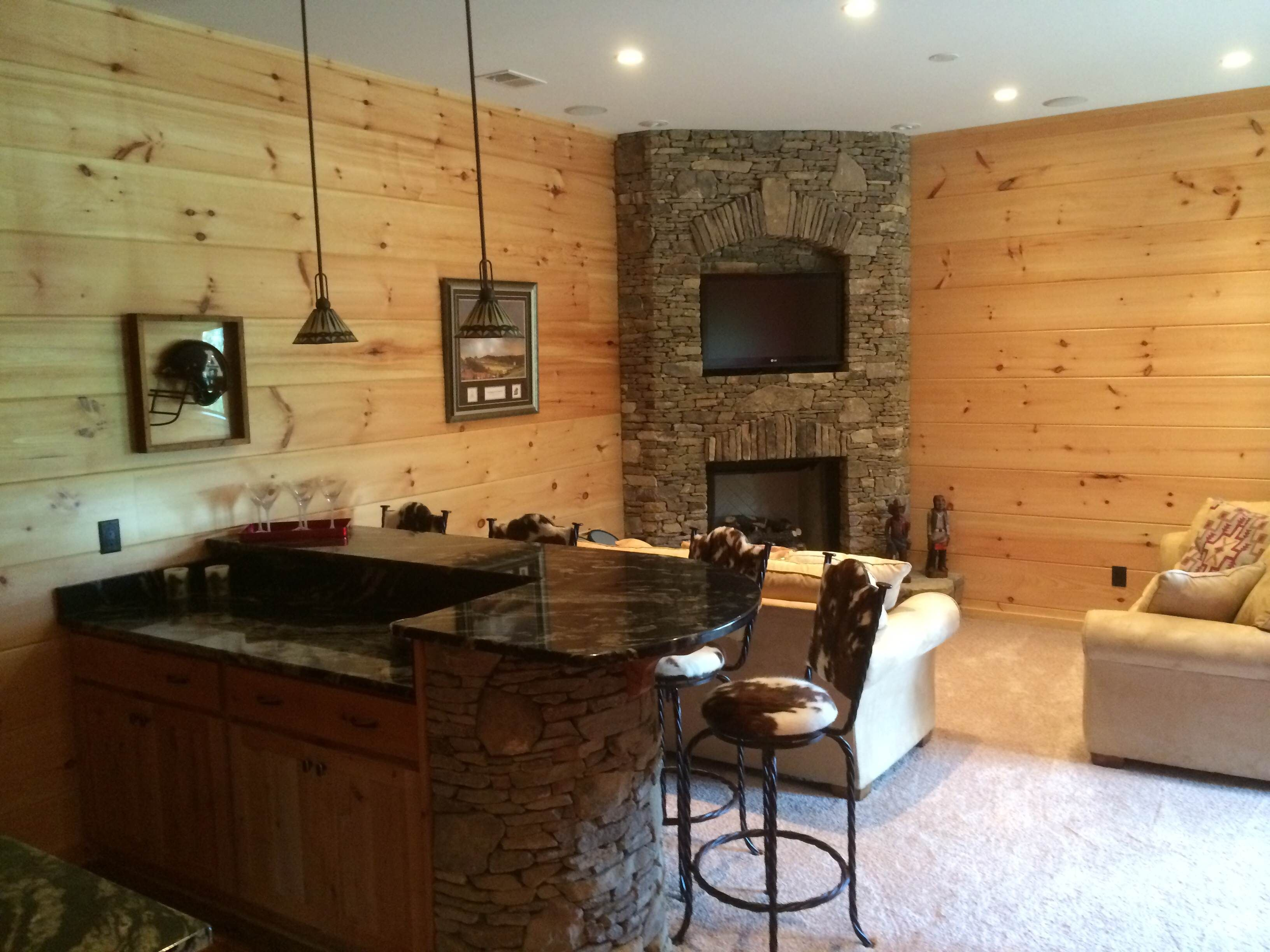 Great Basement Entertaining Space With Gas Fireplace