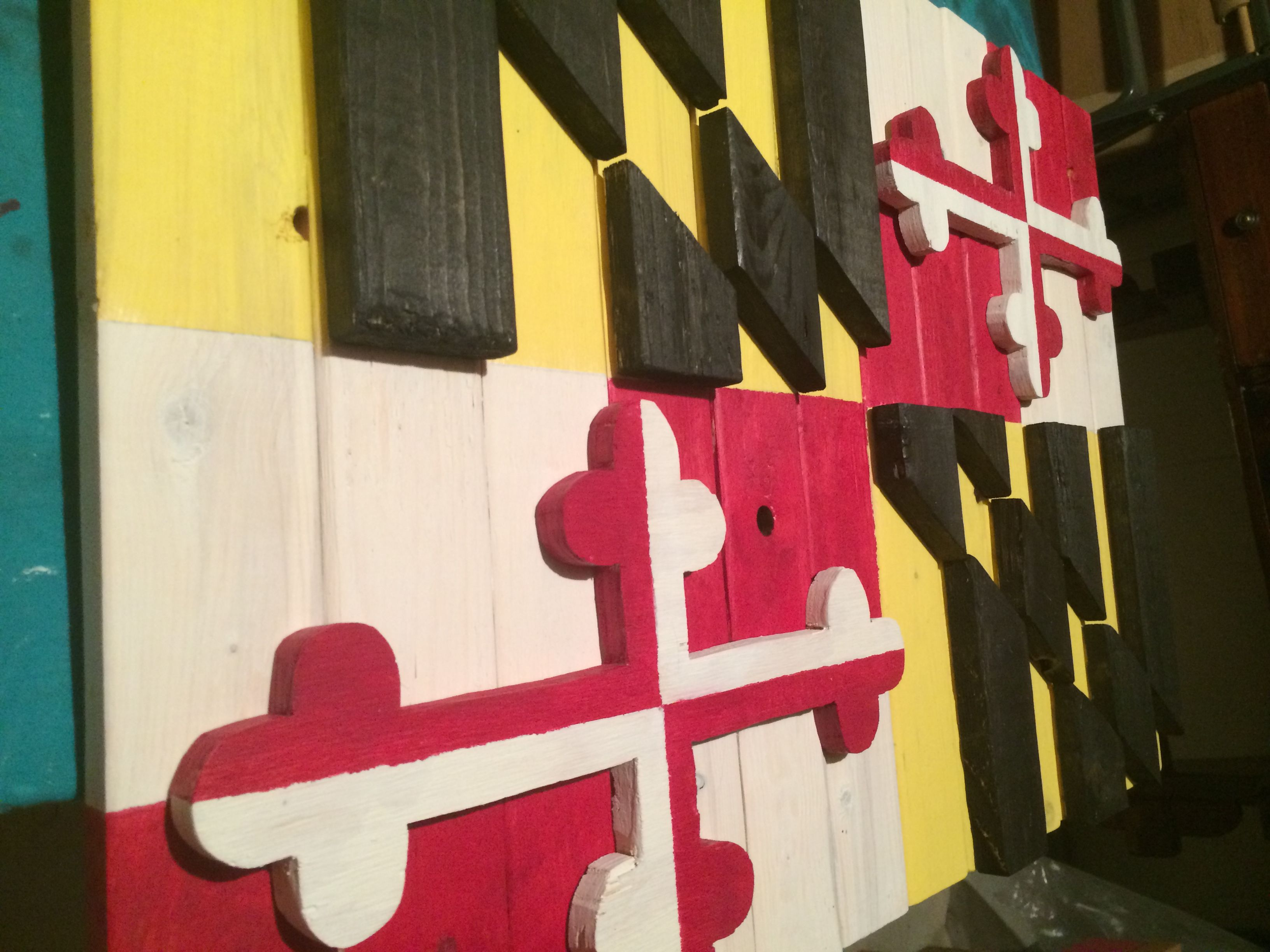Wonderful Custom, made-to-order, rustic, wooden Maryland flag. Approximately  OO81