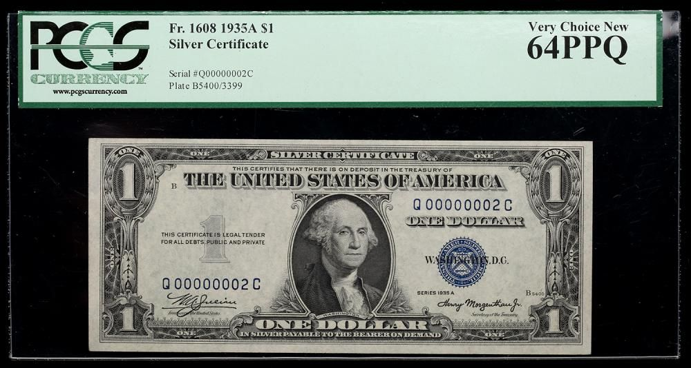 1935 A 1 Silver Certificate Serial Number 2 Pcgs Very Choice New
