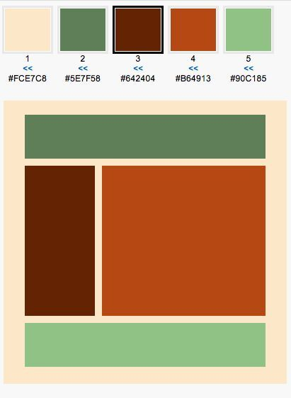 Color Scheme: sage orange and brown home office
