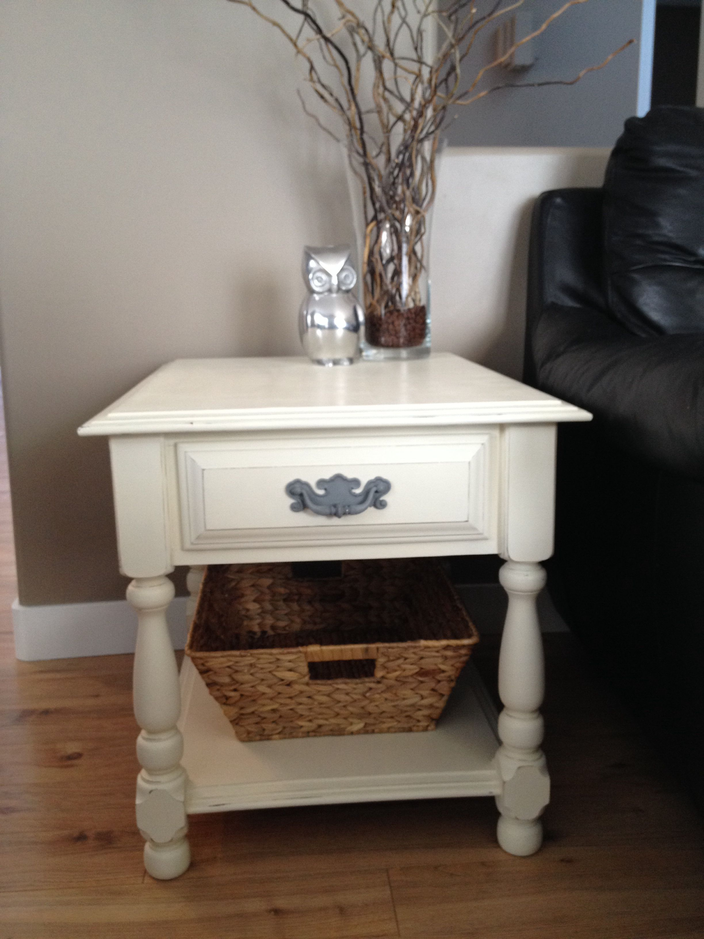 Annie Sloan Chalk Painted End Table Old White Annie