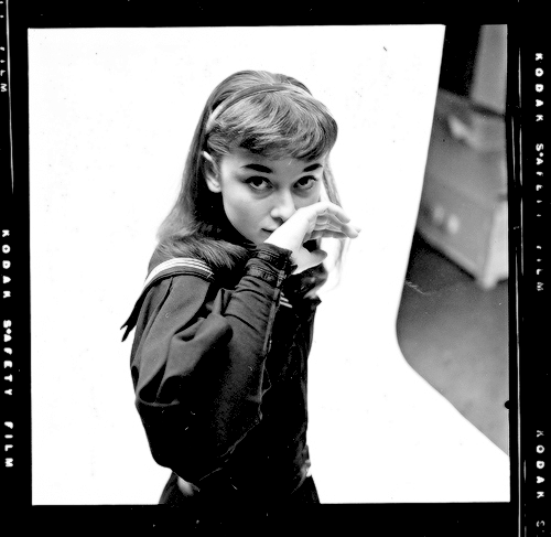 .Audrey Hepburn photographed by Milton Greene for her Broadway debut as Gigi (1951)