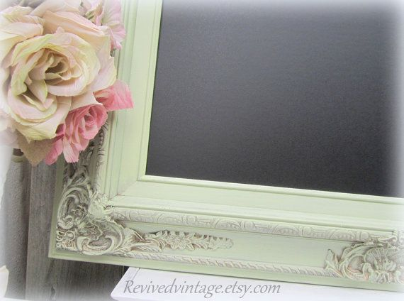 Decorative Kitchen Chalkboards Wedding Magnetic Chalk Board 31 X27 Celery Green Shabby Chic Home