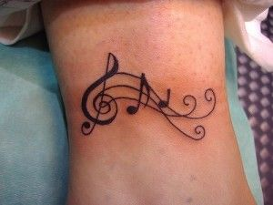 Clave De Sol Pentagrama Y Notas Musicales Tatuajes Tatuaje