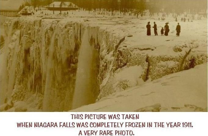 This photo was taken when Niagara Falls was completely frozen in the year 1911.