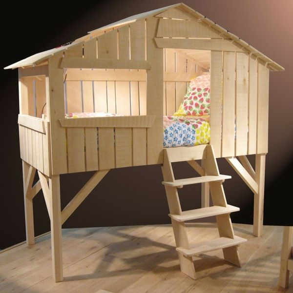 Kinderbett spielhaus  Kinderbett Gestell Holz Matratze Leiter Hochbett | Little boys ...