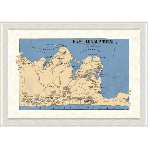 Vintage Print Gallery Map Of East Hampton, Long Island, Ny Multi ...