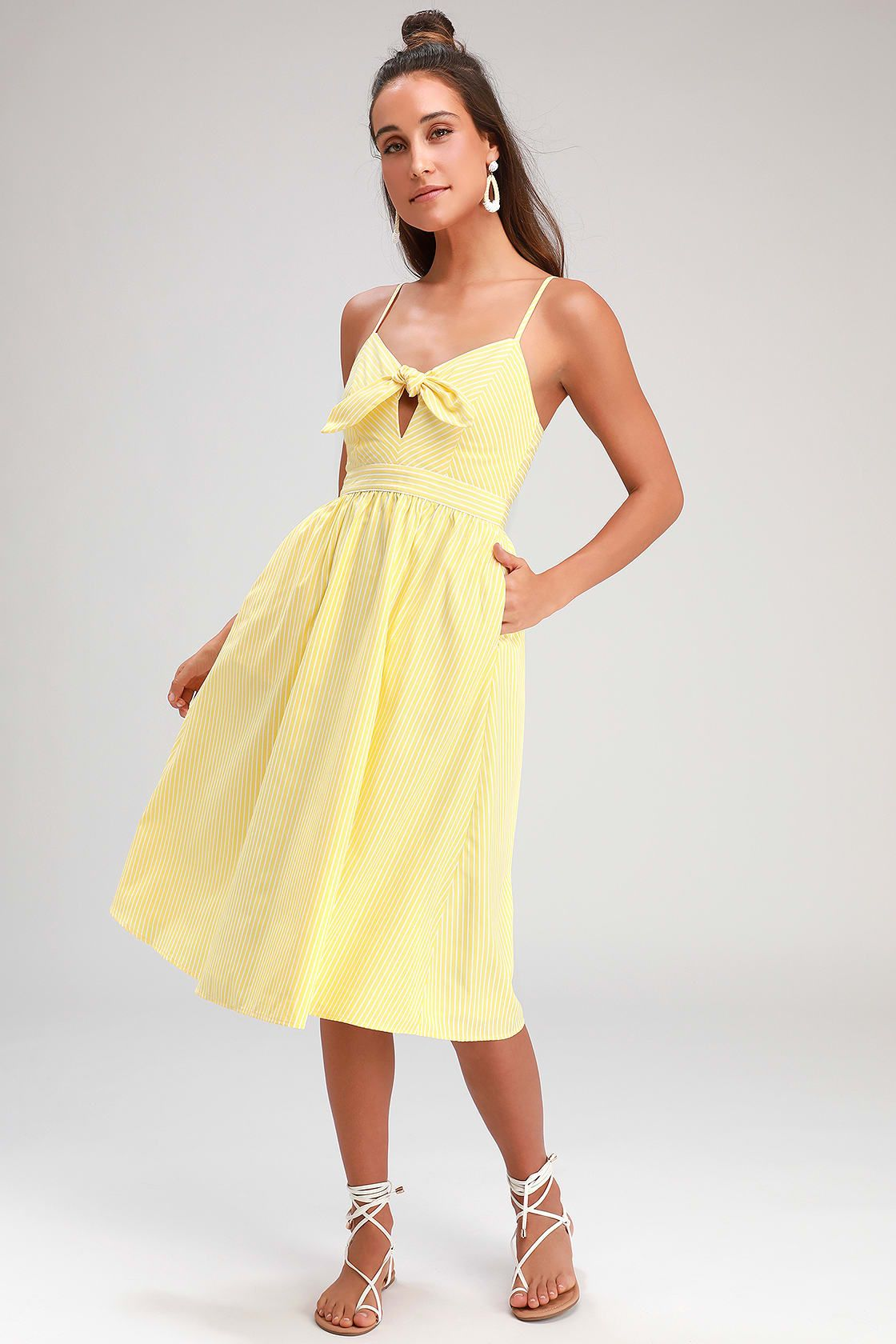 457aae88a54 Lulus | Joyful Days Yellow Striped Knotted Front Midi Dress | Size ...