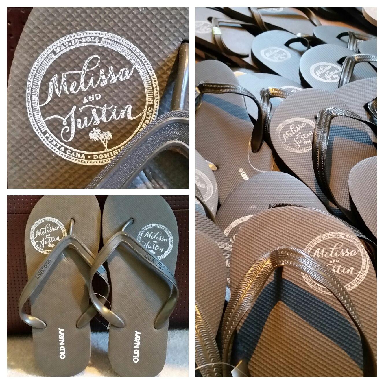 b9ea66b49 custom wedding monogram on flip-flops for destination wedding welcome bags