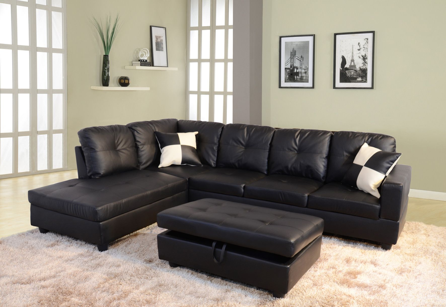 Raphael Faux Leather Left Facing Sectional Sofa With Ottoman