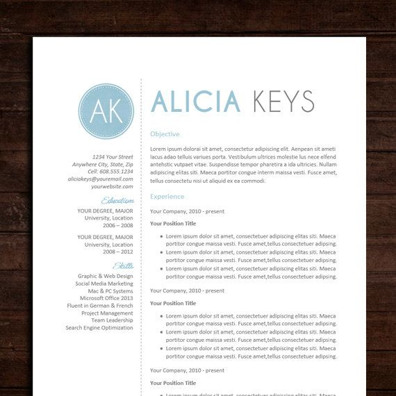 resume cv template the alicia resume design in blue instant download word doc template. Black Bedroom Furniture Sets. Home Design Ideas