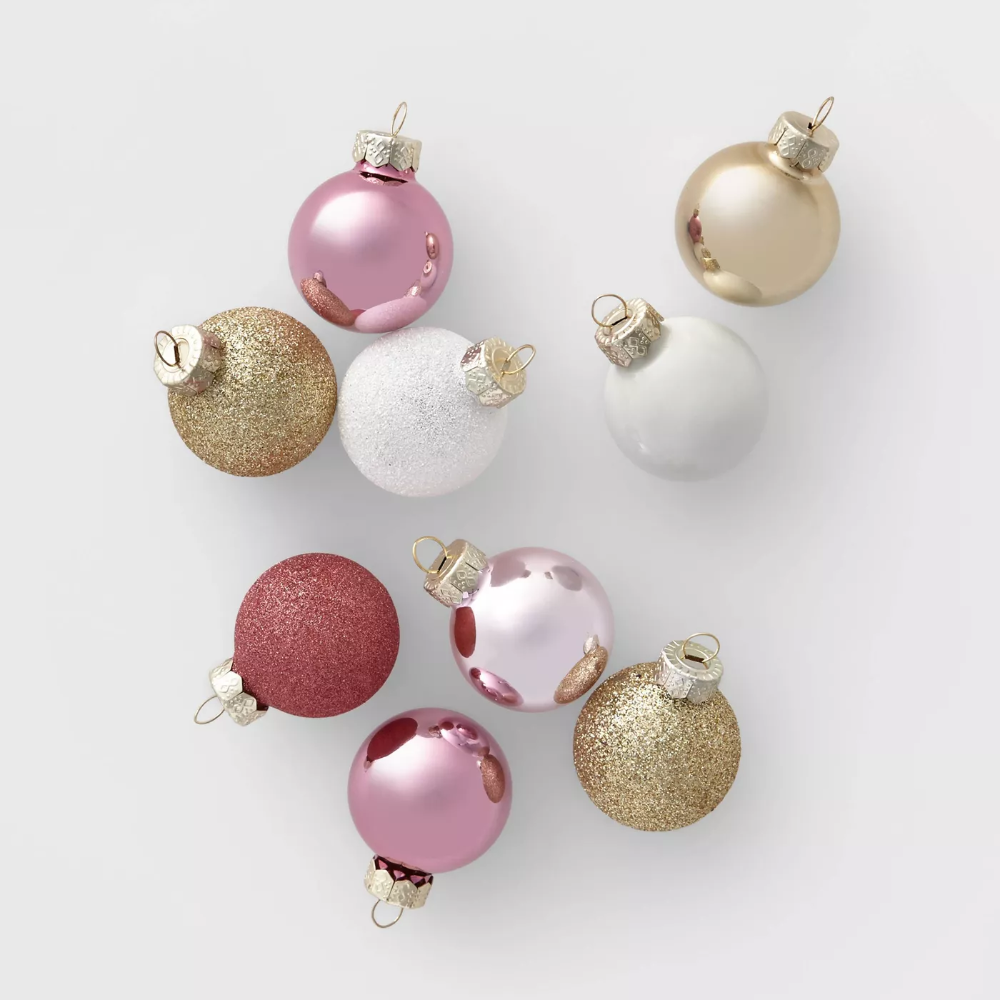 18ct Mini Glass Round Christmas Ornament Blush White And
