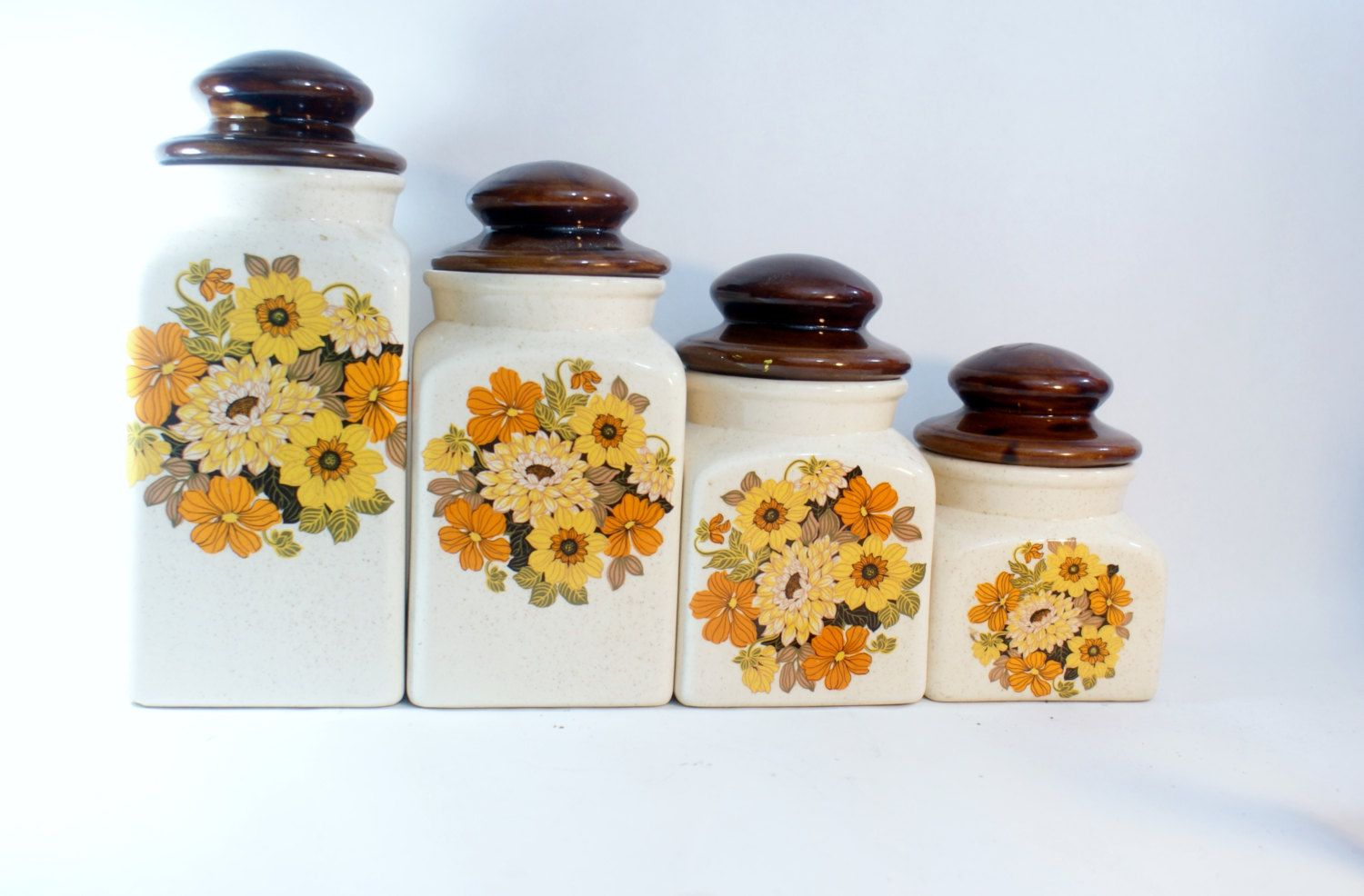 Set Ceramic Canister Kitchen Canisters 4 White Storage Lids Coffee Sugar Painted Hand Vintage Flour Jars by DoorCountyVintage on Etsy