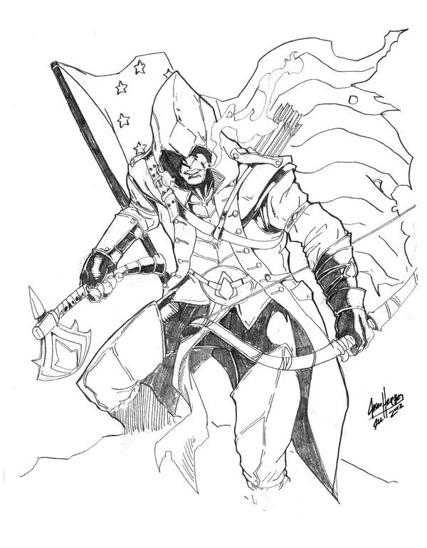 assassin__s_creed_iii__connor_by_jasonheichel-d5b8lch | Coloriage ...