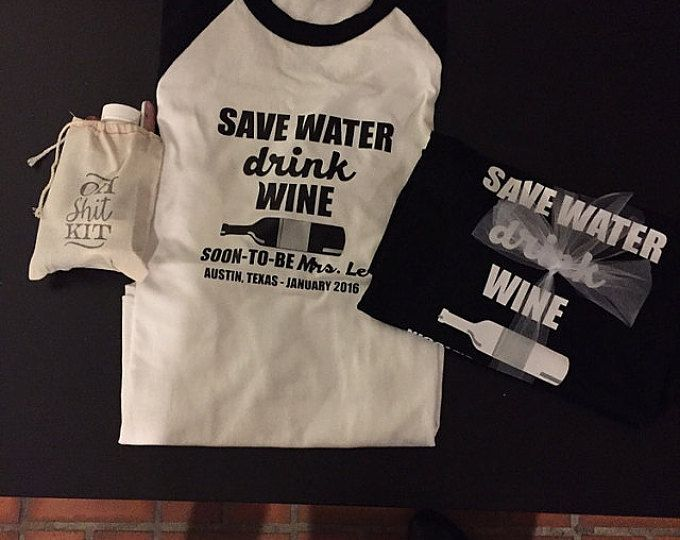 Save water drink wine iron on vinyl decal for tank tee shirt personalized decal bachelorette party