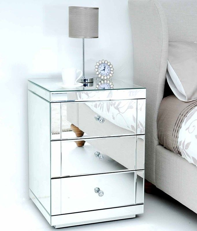 Lucia Toughened Mirrored Bedside Table With 3 Drawers Mirrored Bedroom Furniture Bedroom Bedside Table Silver Bedroom
