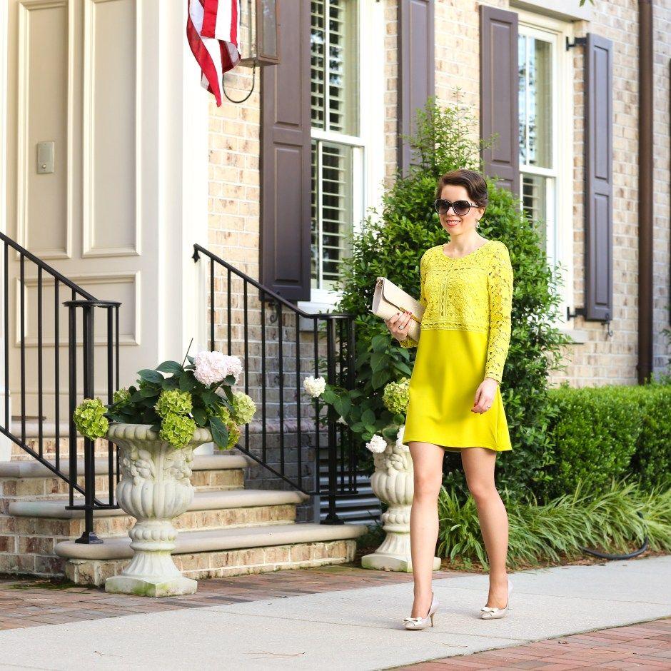 lace shift dress in mustard - hampton roads | Bogi | Pinterest ...