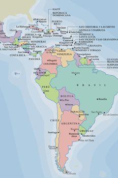 Mapa político de América Central y del Sur\