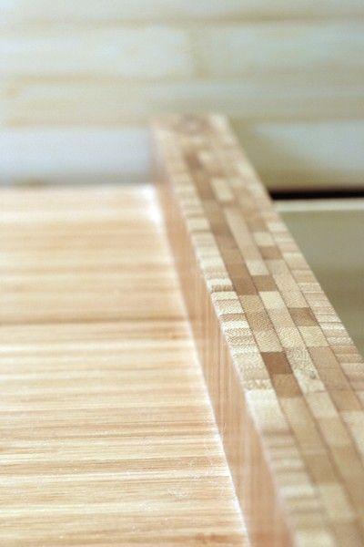 Bamboo desktop with textured MDF modesty panel below