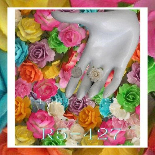 50 Pieces  Handmade Mulberry Paper Flowers    Color:  Mixed Color   (See photo)    Approximate Measurements   (See photo for size comparison)    Flower Size - 1 inches / 2.5 cm  Wire Stem Length - 1 1