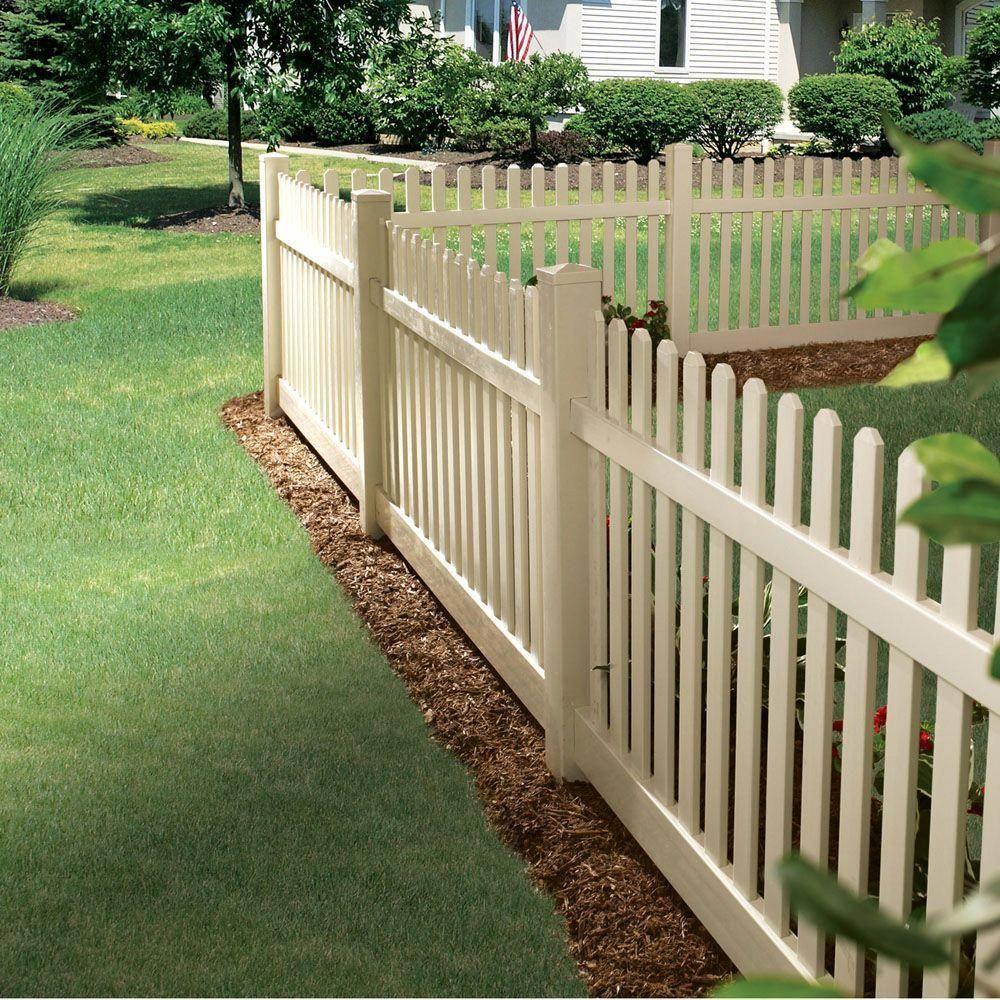 Veranda Kettle Straight 4 Ft H X 8 Ft W Sand Vinyl Un Assembled Fence Panel 73011900 The Home Depot Backyard Fences Fence Design Wood Fence Design