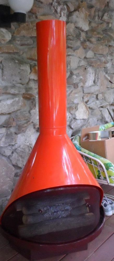 Mid Century Mod Orange Retro Cone Freestanding Electric