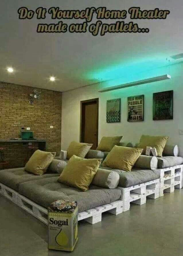 Home movie lounge made from pallets.