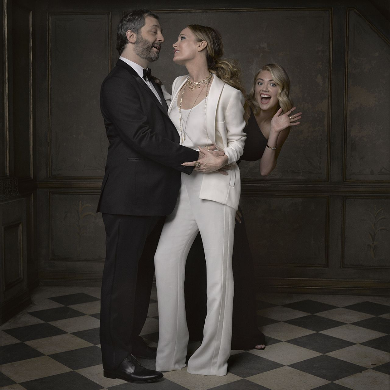 Judd Apatow, Leslie Mann + Kate Upton for the 2015 Vanity Fair Oscar Party Portraits -