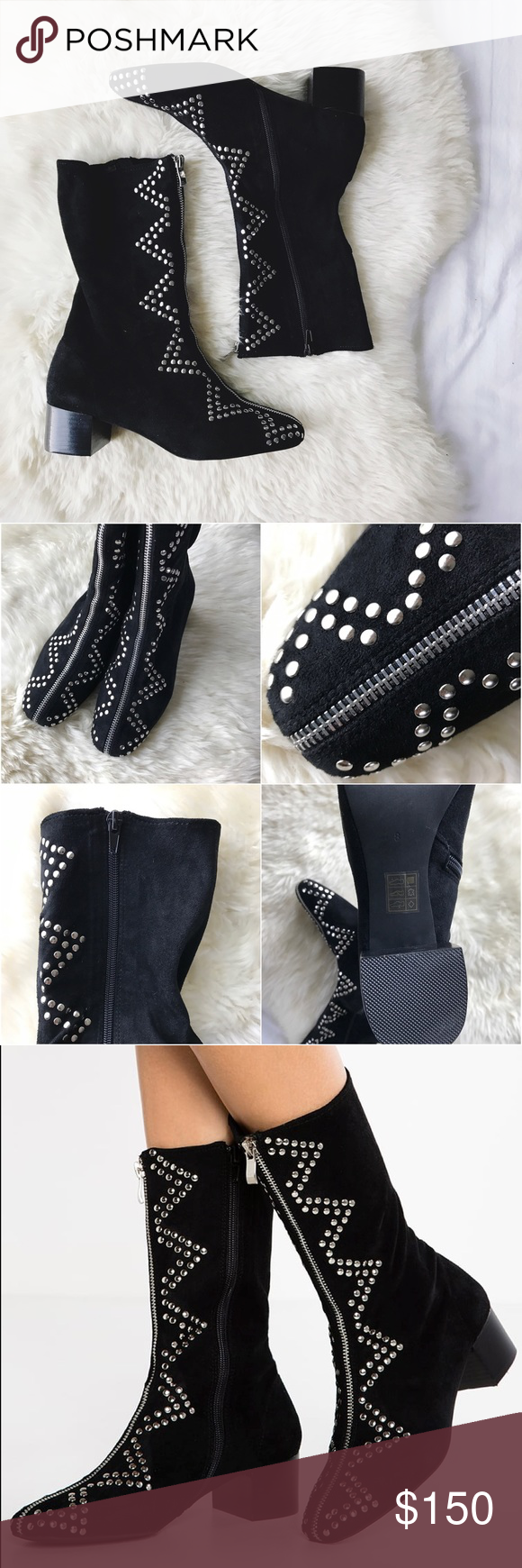 """Jeffrey Campbell Studded Zipper Boots •A shiny silvertone zipper starts at the top and traces a line down the center of this mid-height boot, ending at the vintage-inspired rounded square toe. A zigzag of polished studs are arranged on either side, further embellishing the soft faux suede  •Size 8, true to size.  1 1/2"""" heel, 9 3/4"""" boot shaft.  •New in box.  •NO TRADES/HOLDS/PAYPAL/MERC/VINTED/NONSENSE. Jeffrey Campbell Shoes Ankle Boots & Booties"""
