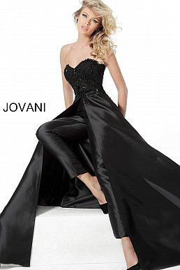 66082 black strapless sweetheart neck evening jumpsuit