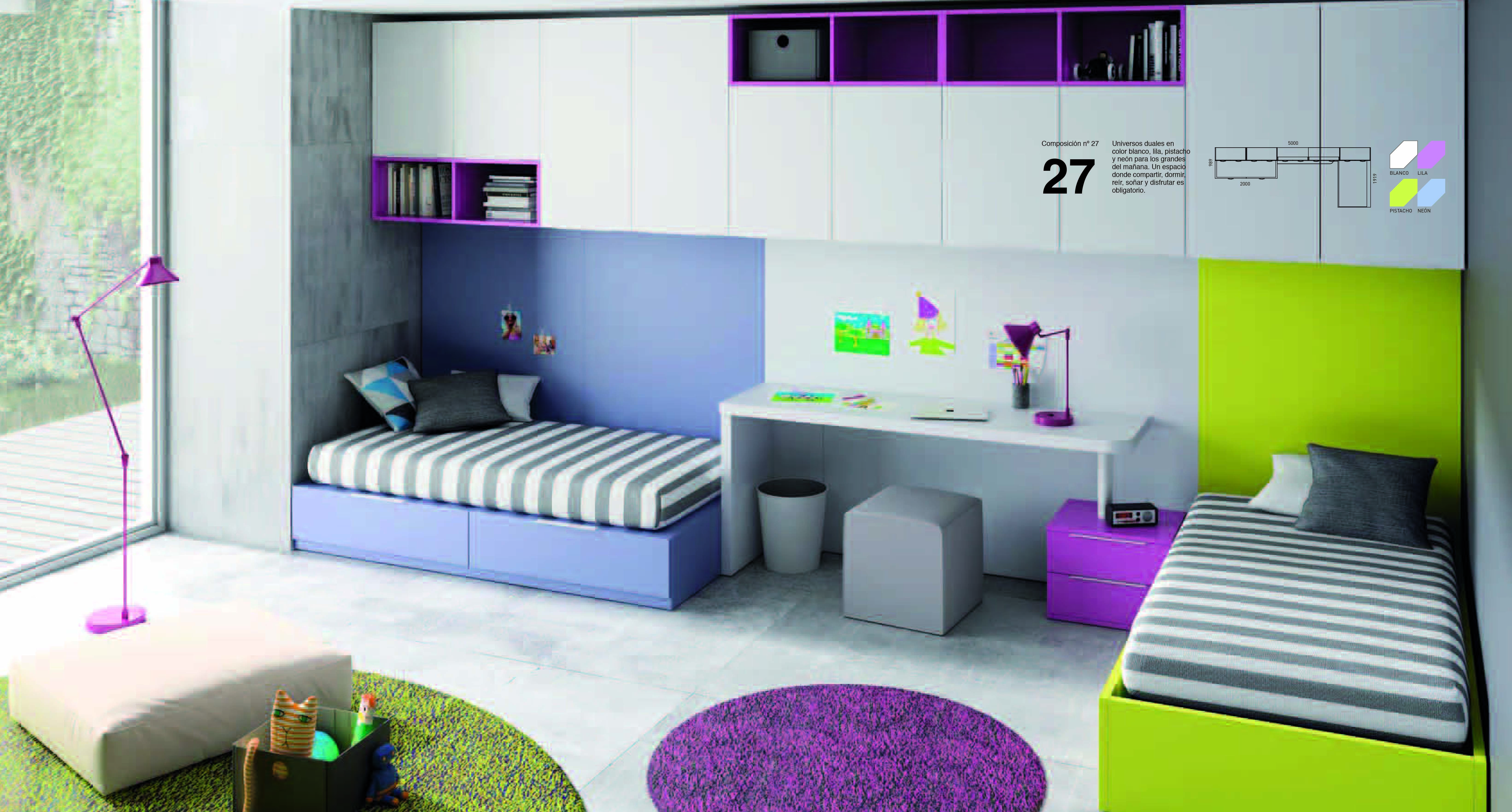 Dormitorio con dos camas que cuentan con diferenciaci n - Dormitorios con dos camas ...